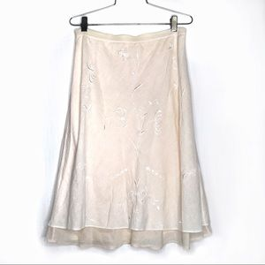 Rebecca Taylor white & nude embroidered midi skirt